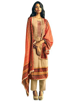 Macadamia Long Trouser and Kameez Suit with Multicolored Embroidery and Digital Printed Dupatta