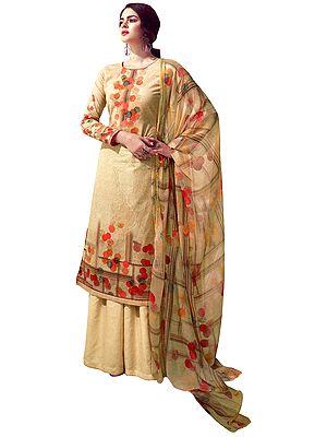 Quiet-Peach Digital Printed Palazzo Lawn Salwar- Kameez Suit with Chiffon Dupatta