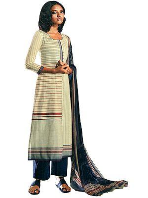 Estate-Blue Digital Printed Palazzo Salwar- Kameez Suit with Dupatta