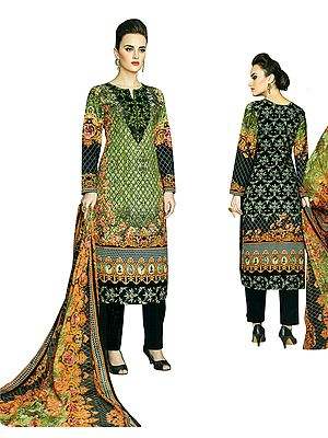 Arcadian-Green Long Embroidered Palazzo Kameez Suit with  Floral Printed Dupatta