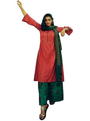 Cranberry-Red Long Embroidered Palazzo Kameez Suit with  Floral Printed Dupatta