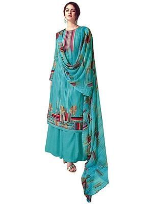 Bright-Aqua Digital Printed Palazzo Lawn Salwar- Kameez Suit with Chiffon Dupatta
