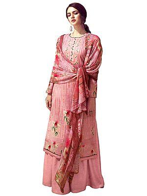 Bridal Rose Digital Printed Palazzo Lawn Salwar- Kameez Suit with Chiffon Dupatta