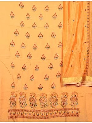 Pumpkin Orange Salwar Kameez Fabric with Lukhnavi Chikan Embroidery by Hand