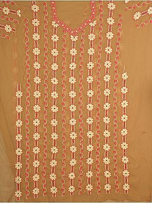 Taupe Chikan Embroidered Salwar Kameez Fabric from Lucknow with Beadwork