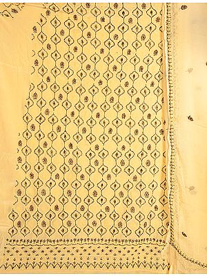 Fawn Salwar Kameez Fabric from Lucknow with Chikan Embroidery by Hand