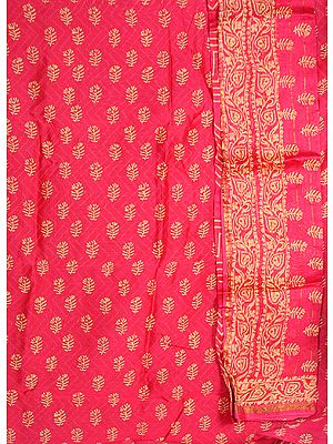 Magenta Chanderi Suit with All-Over Printed Bootis