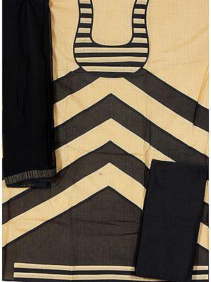 Khaki and Black Banarasi Designer Salwar Kameez Suit Fabric