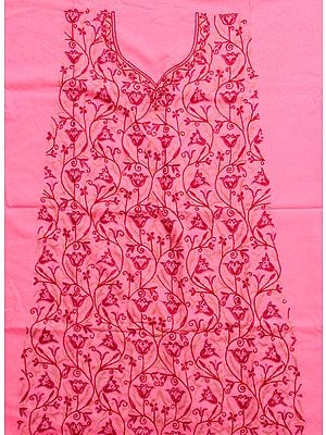 Pink Two-Piece Salwar Suit from Kashmir with Heavy Ari Embroidery