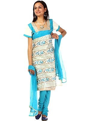 Turquoise and Ivory Gota Salwar Suit with All-Over Embroidery and Sequins