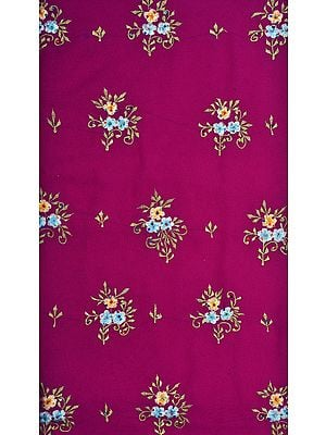 Purple Salwar Kameez Fabric with Ari Embroidered Flowers and Sequins