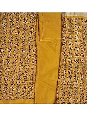 Phulkari Salwar Kameez Fabric From Punjab with Ari Embroidery All-Over