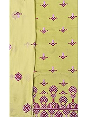 Phulkari Salwar Kameez Fabric From Punjab with Ari Embroidery