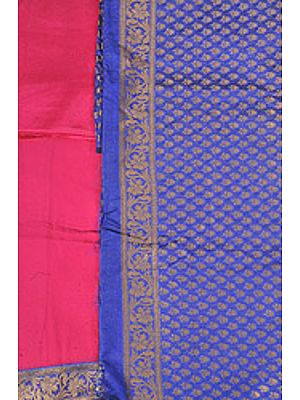 Banarasi Salwar Kameez Fabric with All-Over Woven Flowers