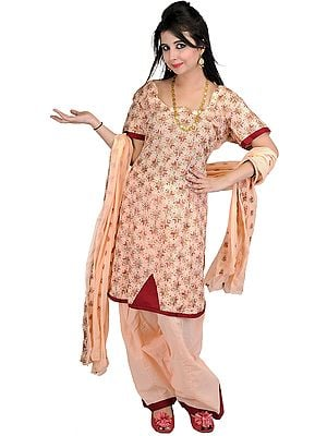 Peach Phulkari Salwar Kameez Fabric From Punjab with Ari Embroidery