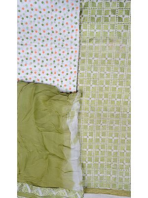 Chic-White and Green Phulkari Salwar Kameez Fabric from Punjab with Ari-Embroidery
