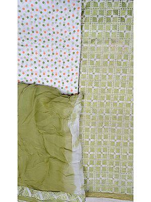 Chic-White and Green Phulkari Salwar Kameez Fabric from Punjab with Ari-Embroidery