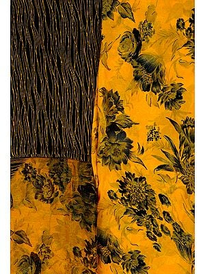Citrus-Yellow Salwar Kameez Fabric with Printed Flowers