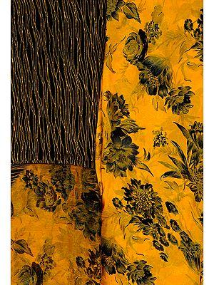 Citrus-Yellow Salwar Kameez Fabric with Printed Flowers