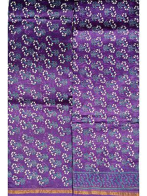 Prism-Violet Block-Printed Chanderi Salwar Kameez Fabric