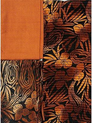 Chipmunk-Brown Salwar Kameez Fabric with Large Printed Flowers