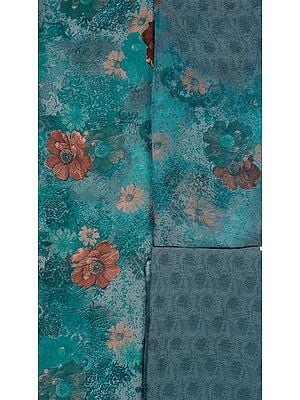 Dusty Turquoise Salwar Kameez Fabric with Large Printed Flowers