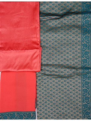 Iceberg-Green and Pink Banarasi Salwar Kameez Fabric with All-Over Woven Flowers