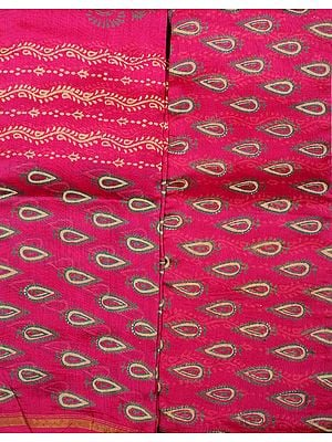 Fuchsia Block-Printed Chanderi Salwar Kameez Fabric