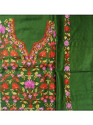 Dill-Green Salwar Kameez Fabric from Kashmir with Ari Embroidered Flowers by Hand