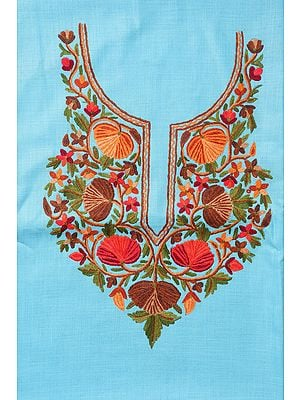 Cyan-Blue Two-Piece Salwar Kameez Fabric from Kashmir with Hand-Embroidered Flowers