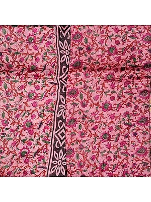 Cameo-Pink Chanderi Salwar Kameez Fabric with Block-Printed Flowers