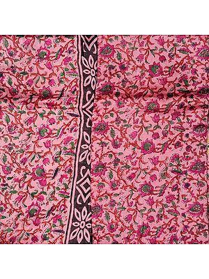 Cameo-Pink Chanderi Salwar Kameez Fabric with Block-Printed Flowers