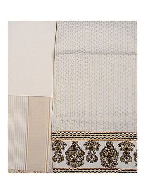 Ivory Kasavu Salwar Kameez Fabric with Metallic Thread Embroidery