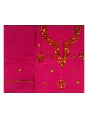 Magenta Salwar Kameez Fabric from Kashmir with Sozni Embroidery by Hand