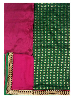 Amazon-Green and Fuchsia Banarasi Salwar Kameez Fabric with Brocaded Bootis in Zari Thread