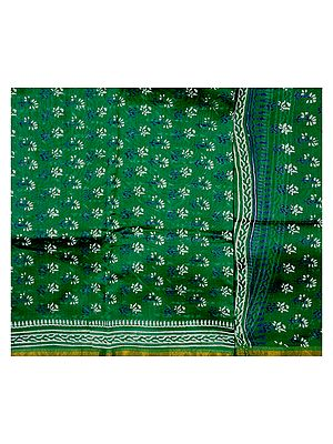 Islamic-Green Chanderi Suit with Block-Printed Bootis