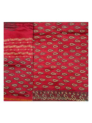 Ruby-Red Chanderi Salwar Kameez Suit Fabric with Block-Printed Bootis
