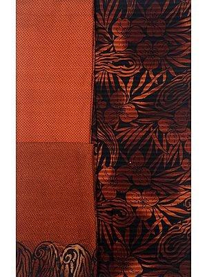 Brown and Black Salwar Kameez Fabric with Printed Flowers