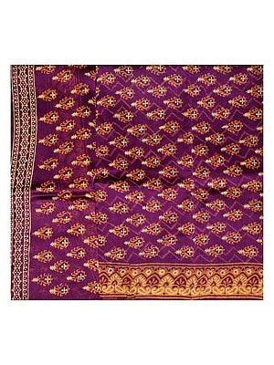 Magenta-Purple Chanderi Salwar Kameez Fabric with Block-Printed Booties