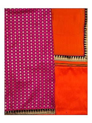 Banarasi Salwar Kameez Fabric with All Over Booties and Brocade Border