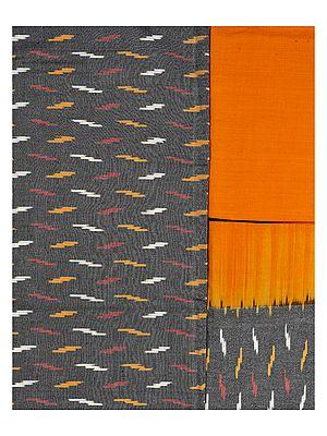 Gray-Amber Salwar Kameez Fabric from Seemandhra with Ikat Weave