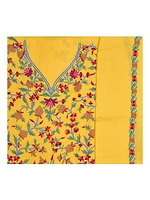 Yellow Salwar Kameez Kashmiri Fabric with Floral Ari Embroidery by Hand