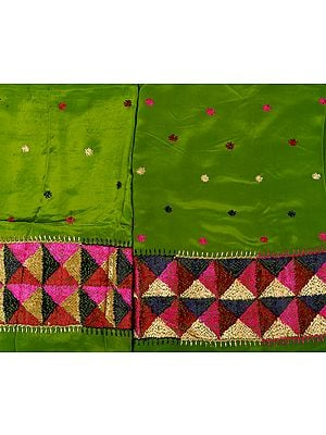 Phulkari Salwar Kameez Fabric Hand-Embroidered in Punjab