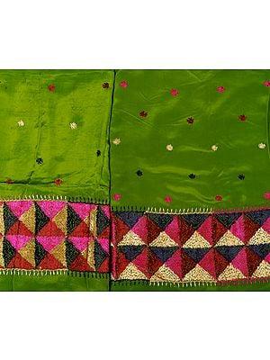Phulkari Salwar Kameez Fabric Hand-Embroidered in Punjab