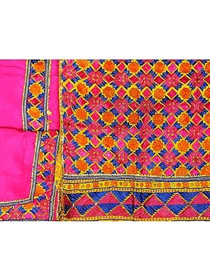 Fuchsia-Rose Phulkari Hand-Embroidered Salwar Kameez Fabric from Punjab with Gota Border