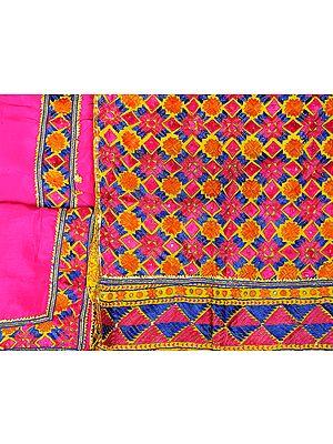 Fuchsia-Rose Phulkari Hand-Embroidered Salwar Kameez Fabric from Punjab with Gota Border