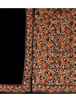 Jet-Black Salwar Kameez Fabric from Amritsar with Embroidered Flowers All-Over