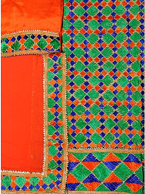 Jaffa-Orange Phulkari Hand-Embroidered Salwar Kameez Fabric from Punjab with Gota Border