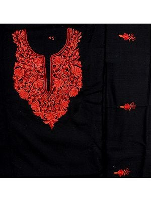 Jet-Black Salwar Kameez Fabric from Kashmir with Hand-Embroidered Flowers on Neck