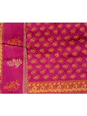 Beetroot-Purple Chanderi Salwar Kameez Fabric with Block-Printed Flowers